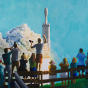 Falcon Heavy Rises - peinture à l'huile / oil painting - 100 x 100 cm - © All rights reserved by Laurent Dubois